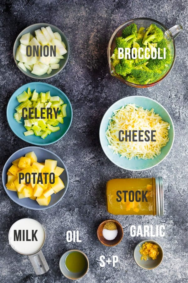 ingredients required to make broccoli cheese soup