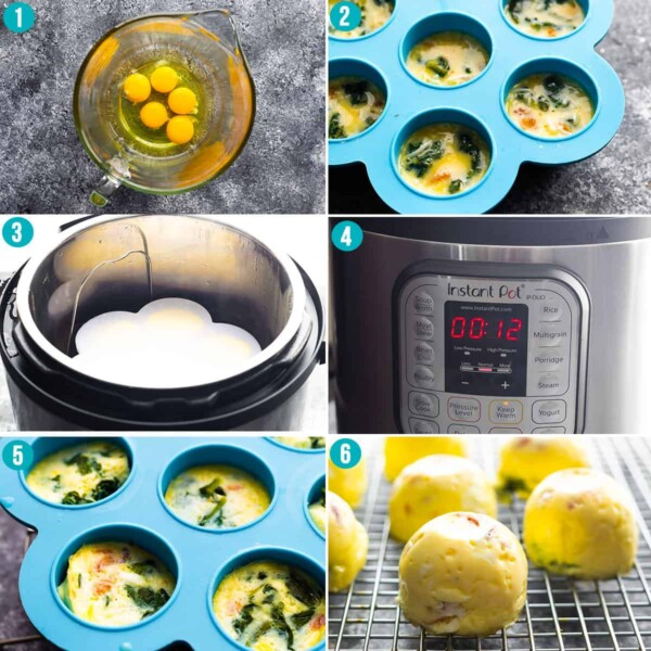 collage image with step by step directions showing how to make egg bites in the instant pot