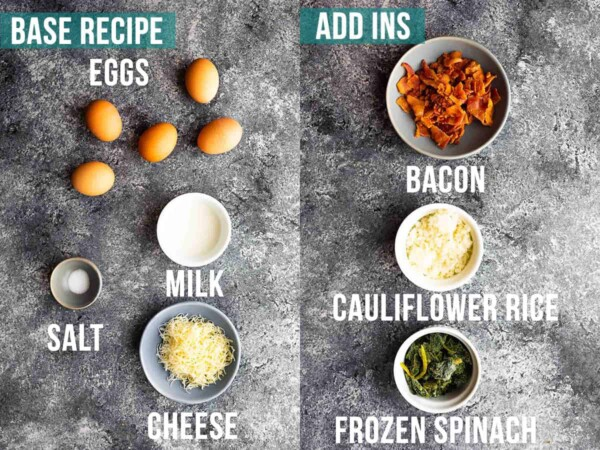 ingredients required to make egg bites including the base recipe and add ins