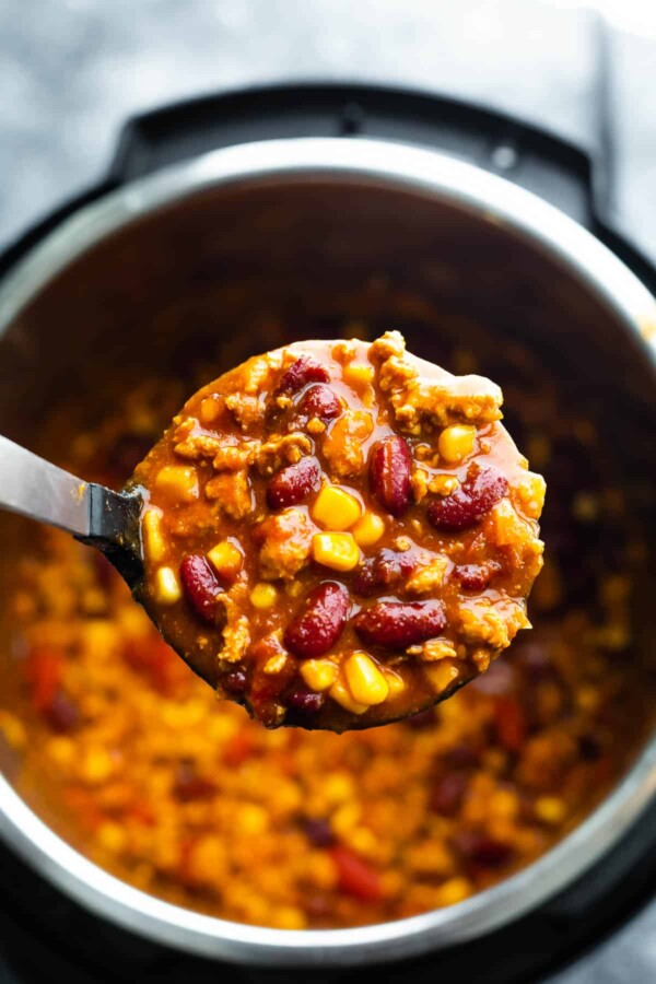 turkey chili on soup ladle