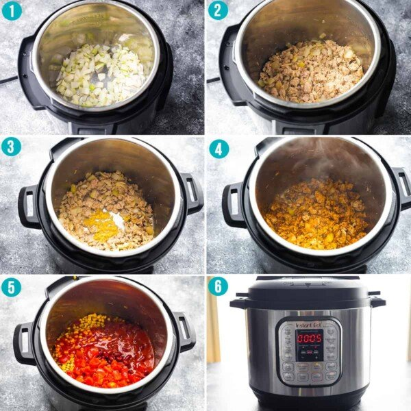 collage image showing how to make instant pot chili