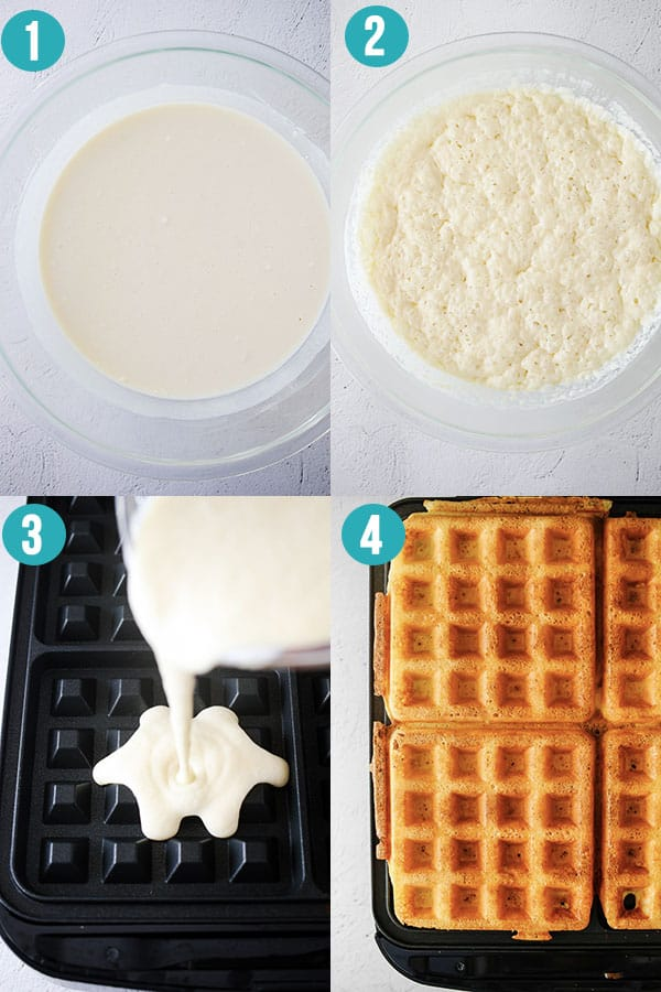 step by step images for how to make yeast waffles
