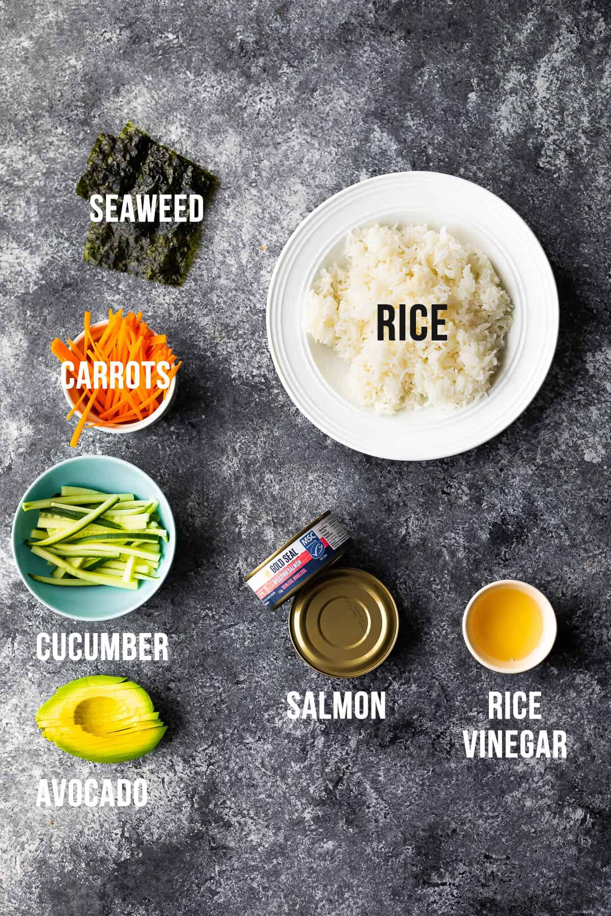 overhead view of ingredients required to make sushi wraps