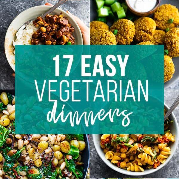 collage image with easy vegetarian dinners