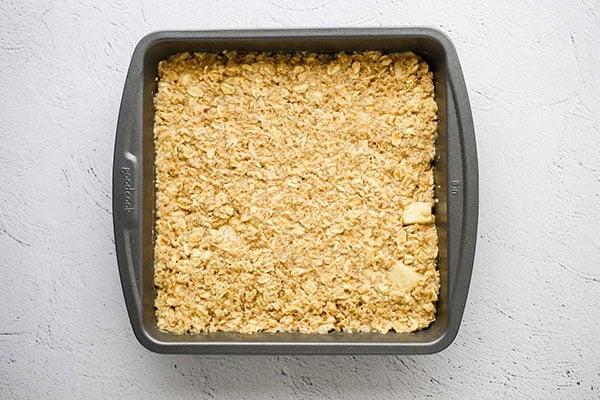 apple quinoa breakfast bars in baking dish before cooking