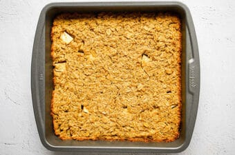 apple quinoa breakfast bars in baking dish after cooking