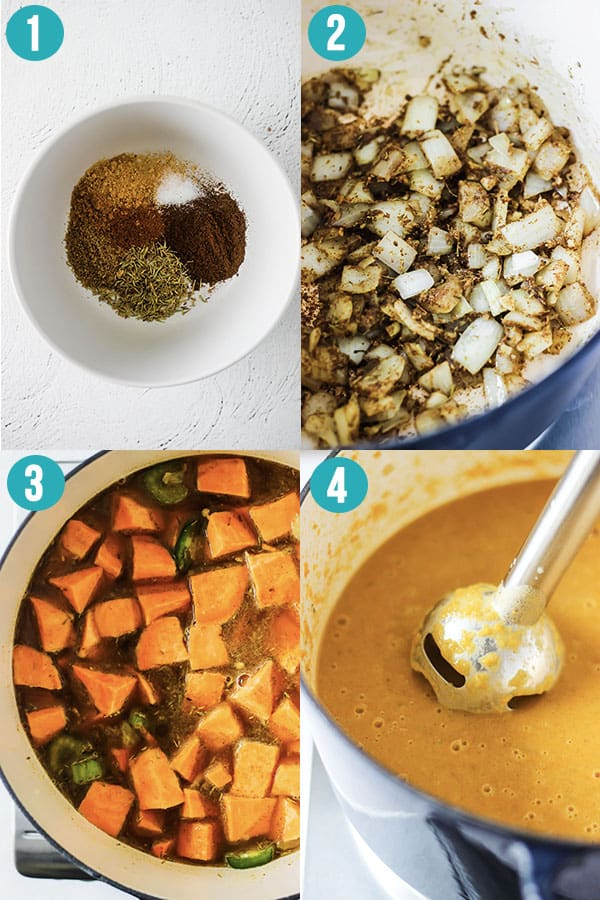 step by step images to make caribbean sweet potato soup
