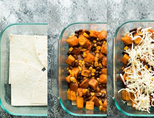 collage image showing how to layer enchilada casserole