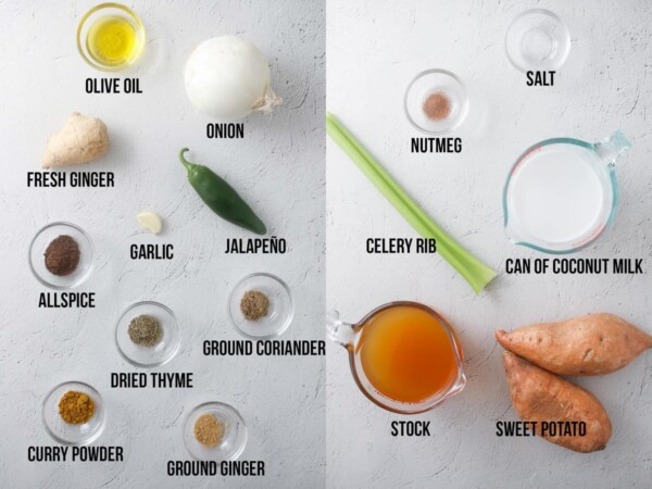 ingredients required to make caribbean sweet potato soup