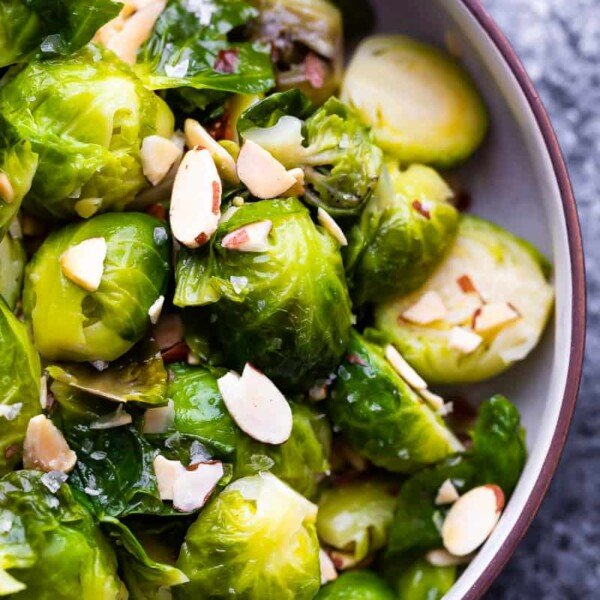overhead close up view of instant pot brussels sprouts in bowl