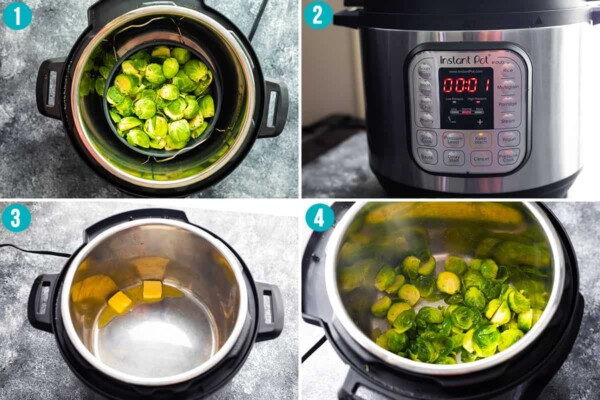collage image showing how to cook brussels sprouts in the instant pot