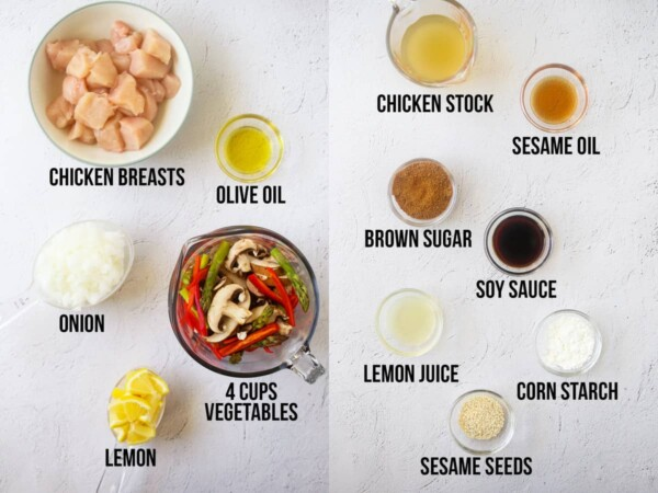 overhead view of ingredients required to make lemon sesame stir fry