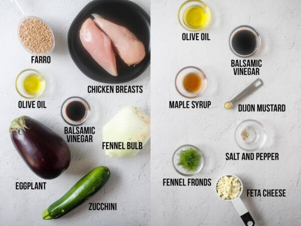 ingredients required to make farro lunch bowls