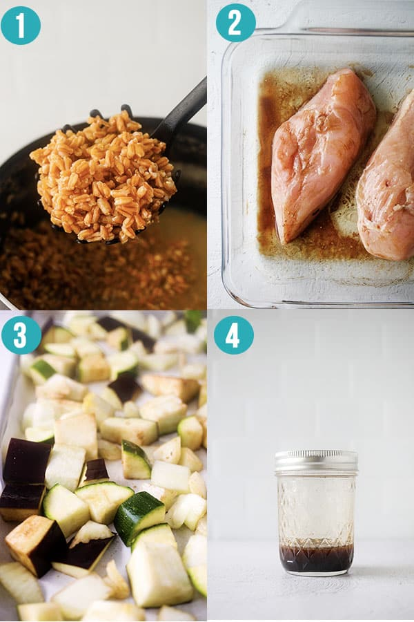 collage image showing the steps required to make mediterranean chicken lunch bowls