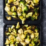 chicken and broccoli on air fryer trays