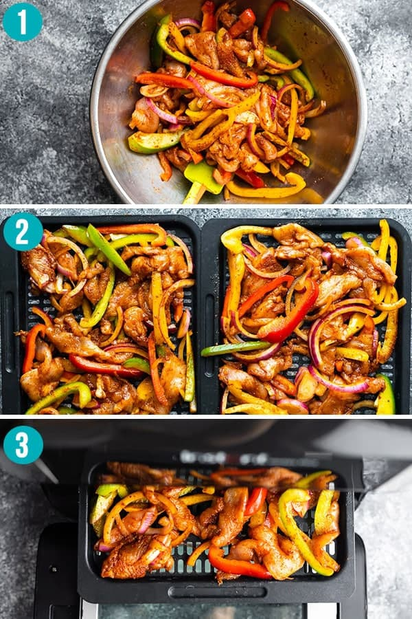 collage image showing how to cook chicken fajitas in the air fryer