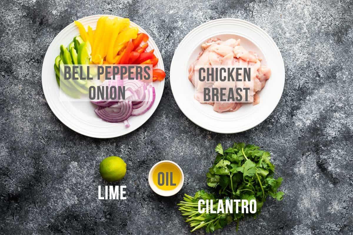 overhead view of ingredients to make air fryer chicken fajitas