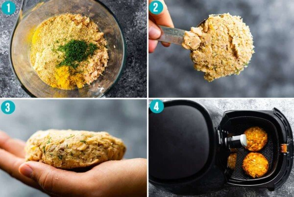 collage image with step by step directions for cooking salmon patties in the air fryer