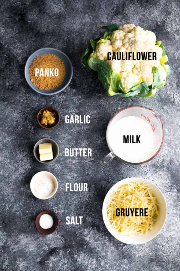 overhead view of ingredients required to make cauilflower au gratin