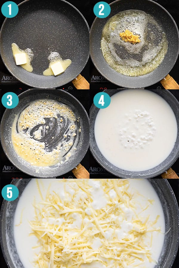 collage image showing the steps required to make cheese sauce