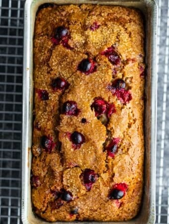 cranberry loaf in loaf pan after baking