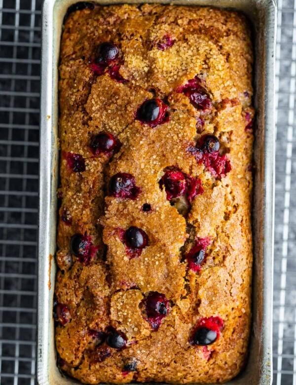 cranberry loaf in loaf pan after baking