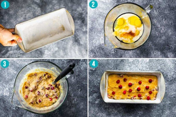 collage image showing how to make cranberry loaf