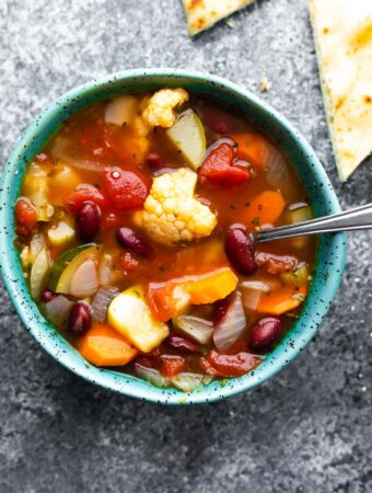 close up view of hearty vegetable soup