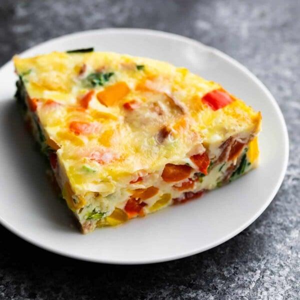 slice of breakfast casserole on plate