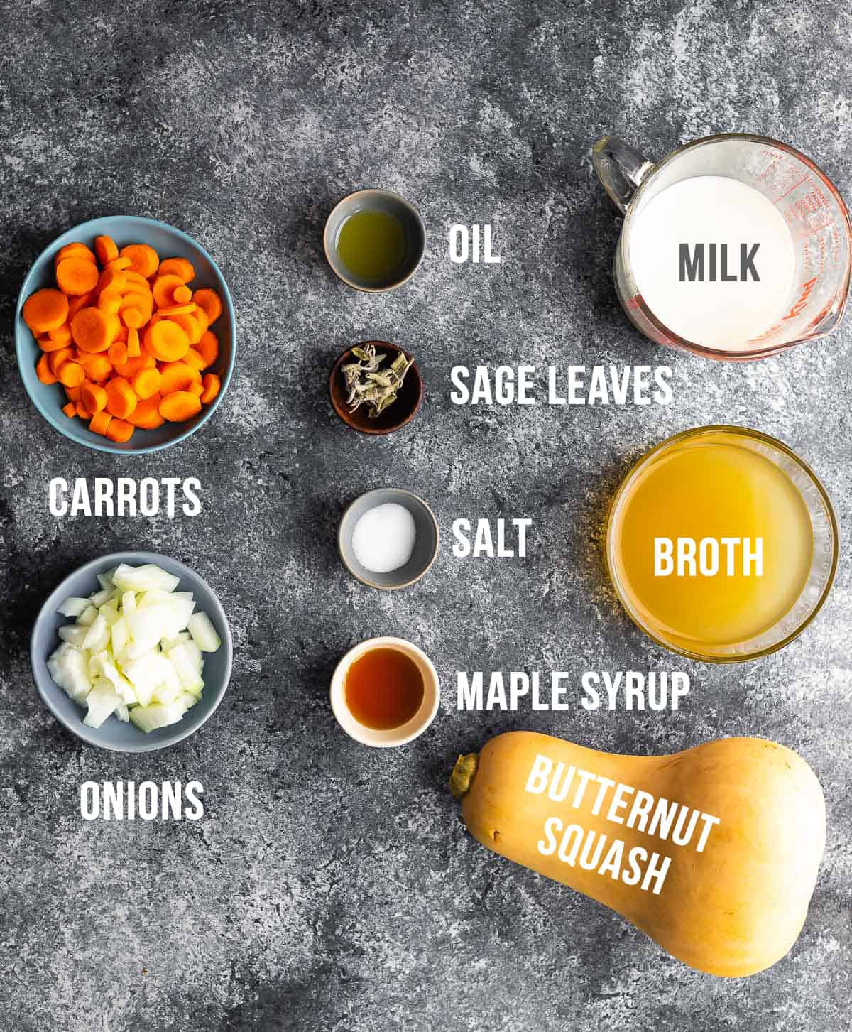 overhead view of ingredients required to make butternut squash soup