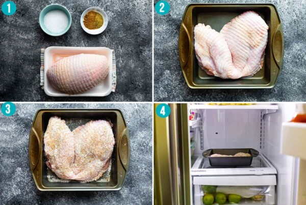 step by step instructions showing how to dry brine turkey breast