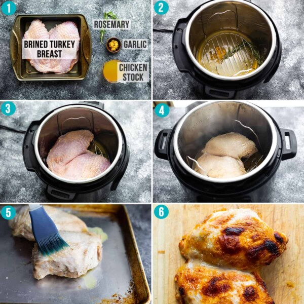 step by step images showing how to cook turkey breast in the instant pot