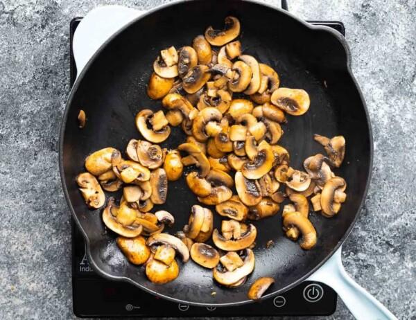cooking mushrooms in frying pan