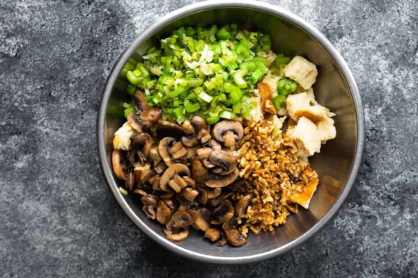 mixing the stuffing ingredients together in a bowl