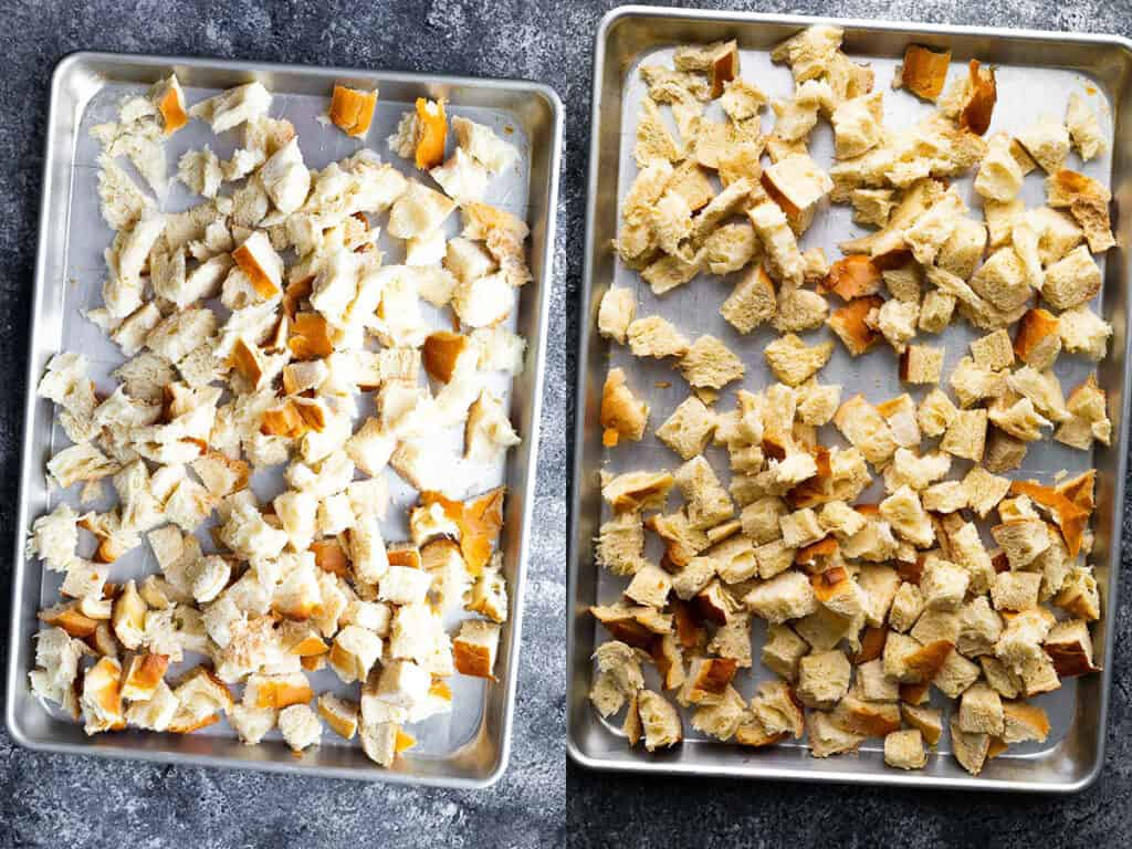 before and after collage image with bread being dried out for stuffing