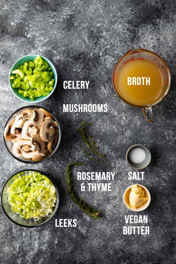 overhead view of ingredients required to make mushroom stuffing
