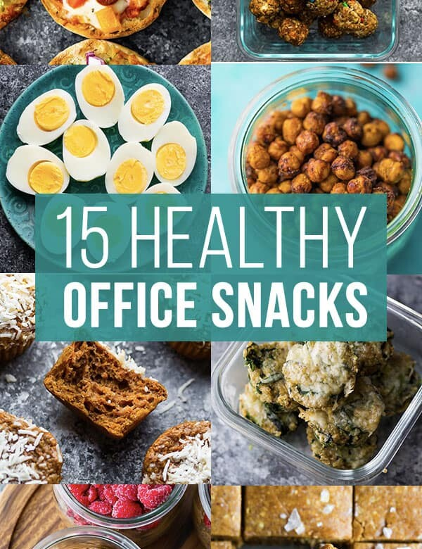 collage image that says 15 healthy office snacks