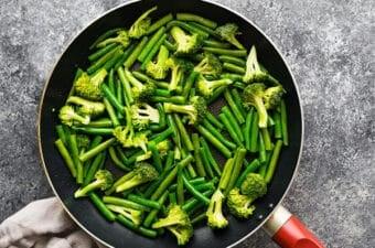 vegetables in a frying pan