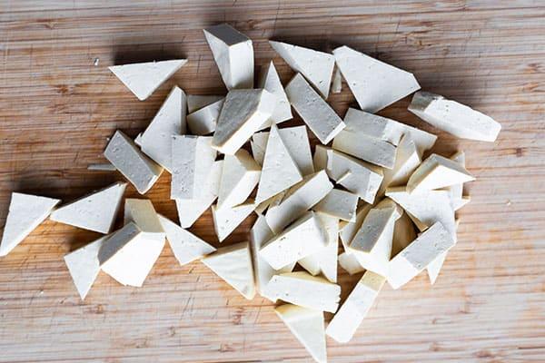 tofu cut into triangles