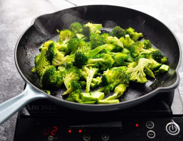 broccoli steaming in pan