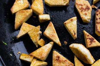 crispy tofu in skillet