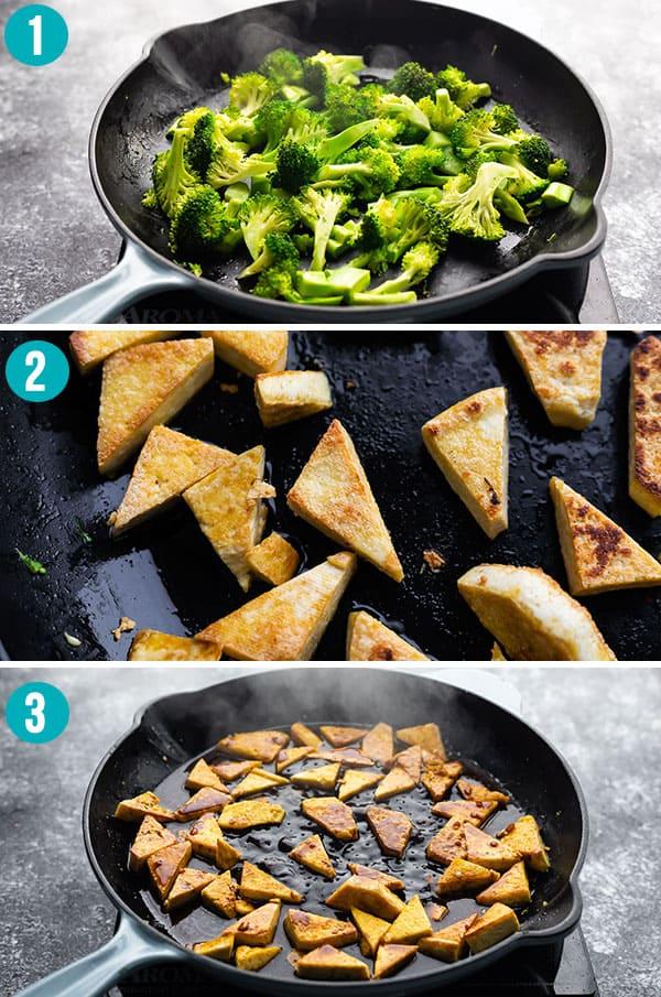 collage image showing how to cook teriyaki tofu