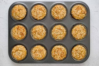 baked lemon chia yogurt muffins in muffin pan