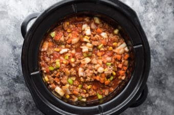 overhead view of uncooked turkey chili in slow cooker