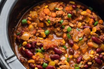 cooked turkey chili in slow cooker