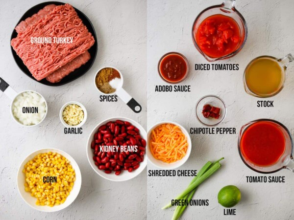 ingredients required to make smoky slow cooker turkey chili