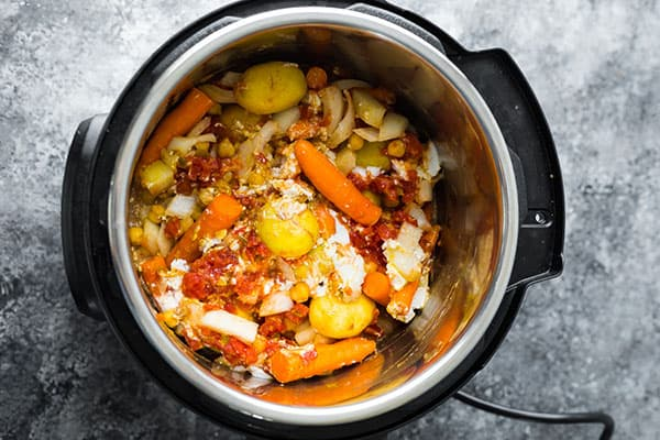 chickpea curry in the instant pot before cooking