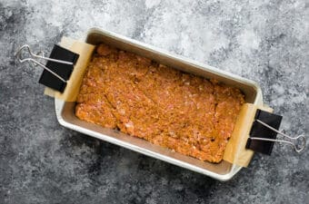 asian meatloaf in loaf pan before cooking