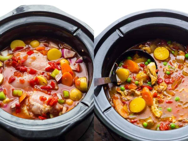 collage image: before and after cooking spanish chicken stew in the slow cooker