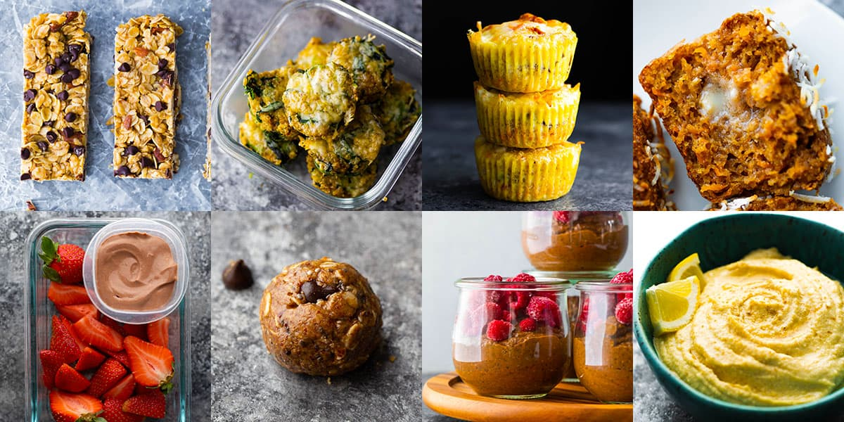 collage image showing 8 of the snacks in the meal prep snacks ebook